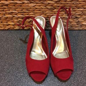Dexflex Comfort Red Faux Suede Peep Toe Heels